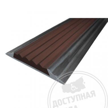Алюминиевая накладная полоса с резиновой вставкой, без технологических отверстий под крепёж, 46х5 мм