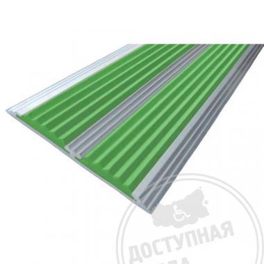 Алюминиевая полоса с двумя противоскользящими вставками на самоклеющейся основе, 70х5,5 мм