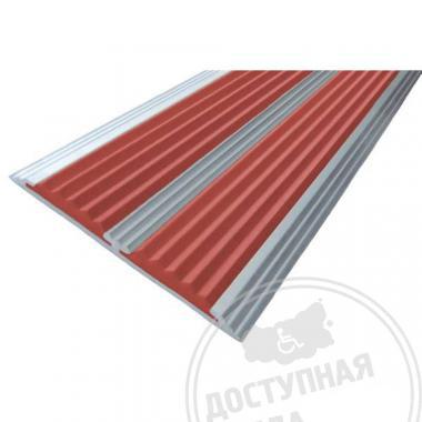 Алюминиевая полоса с двумя противоскользящими вставками, без технологических отверстий под крепеж, 70х5,5 мм цветная