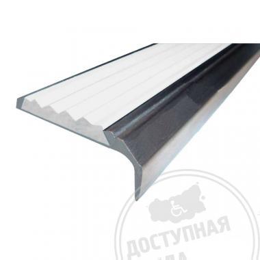 Алюминиевый накладной угол-порог, без технологических отверстий под крепёж, без покрытия, 42х7х23 мм