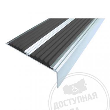 Алюминиевый угол-порог с двумя противоскользящими вставками, без технологических отверстий под крепеж, 68х5,5х22,5 мм