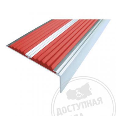 Алюминиевый угол-порог с двумя противоскользящими вставками на самоклеющейся основе, без покрытия, 68х5,5х22,5 мм цветной